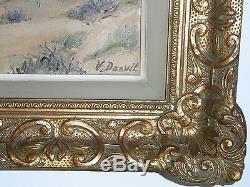08b34 Peinture Hst Signee V. Donvil Creux De Dunes Littoral Mer Du Nord Tableau