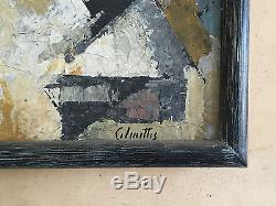 1950 Calmette Peinture Huile Sur Toile Art Deco Moderniste Bauhaus Cubiste