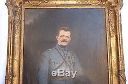 19eme Antique Ecole Anglaise, French Huile Sur Toile Portrait Militaire