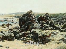 ADAM Henry SAINTIN tableau ERQUY Bretagne paysage breton marine pêcheuse plage