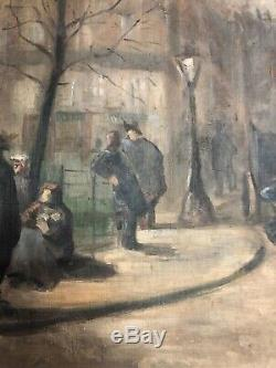 ANCIENNE PEINTURE HUILE SUR TOILE BOULEVARD PARISIEN DEBUT 20ème paris 20th