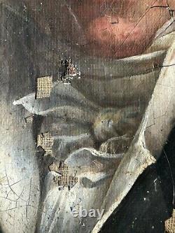 ANCIEN PORTRAIT D'HOMME EPOQUE EMPIRE RESTAURATION HUILE SUR TOILE 19th