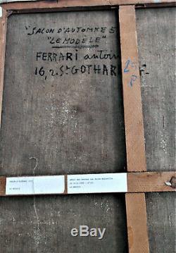 ANTOINE FERRARI Le Modèle. Salon d'automne 57. Huile sur toile. V1167