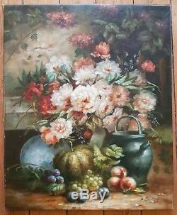 A. Jardin Hst Painting Nature Morte Fruits Bouquet 12f ++ Qualite ++