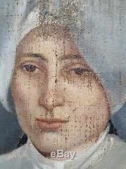 A RESTAURER TABLEAU PEINTURE HST HUILE PORTRAIT RELIGIEUSE COIFFE CORNETTE XIX°