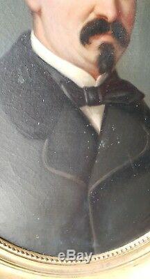 A SAISIR! Portrait de gentilhomme huile sur toile XIXème