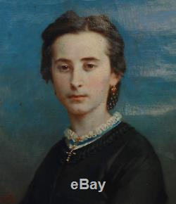 Adolphe Perrot Portrait de femme Huile sur toile Ecole Française XIXème siècle