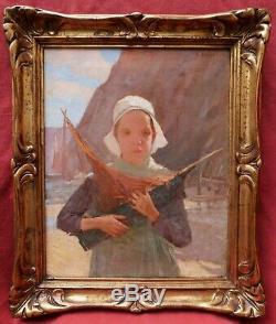 Albert CRESSWELL tableau portrait petite fille Bretonne Bretagne marine bateau