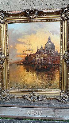 Albert DUPRAT Vue de Venise 60 x 80 XIX eme huile sur toile