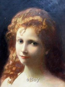 Alexandre BRUN Fond d'atelier huile sur toile Portait de jeune femme