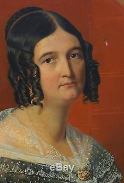 Alexandre Denis Abel De Pujol Portrait de femme huile sur toile XIXème siècle