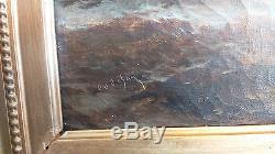 Alfred GODCHAUX 1835-1895 Bateaux dans la tourmente Peinture, Huile, Tableau XIXe