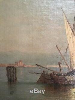 Allemagne Impressionnisme Italie Baie de Venise Huile sign F. C WELSCH 1828-1904