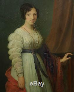Alphonse Auguste Falcoz Portrait de femme Huile sur toile Epoque Charles X