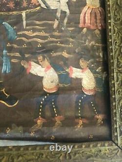 Ancien Tableau 19 Eme Huile Sur Toile Ecole De Cuzco