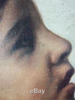 Ancien Tableau Anna Gerardi Peinture Huile Antique Oil Painting