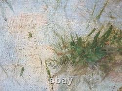 Ancien Tableau Cochons au Pré Peinture Huile Antique Oil Painting Ölgemälde