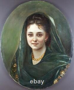 Ancien Tableau Dame au Collier de Perles Peinture Huile Antique Oil Painting