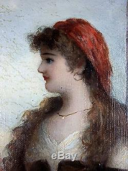 Ancien Tableau Femme à la Mandoline Peinture Huile Antique Oil Painting