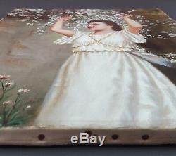 Ancien Tableau Femme au Cerisier Peinture Huile Antique Oil Painting Ölgemälde