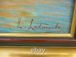 Ancien Tableau Huile Sur Toile Paysage Marin Sud Bateaux Port Marine Signature