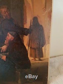 Ancien Tableau, Huile Sur Toile, Peinture, Moine Jouant Au Echec, Portrait