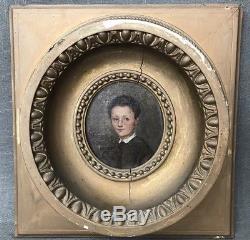 Ancien Tableau Huile Sur Toile Portrait Denfant Cadre Médaillon XIXeme Signé