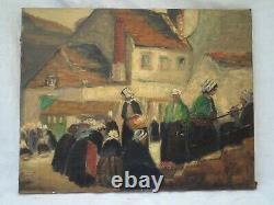 Ancien Tableau Huile sur Toile scène rurale marché Breton
