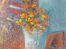 Ancien Tableau Jacqueline Triby Peinture Huile Antique Oil Painting