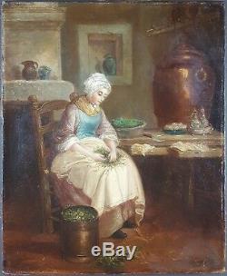 Ancien Tableau La Cuisine Peinture Huile Toile Antique Oil Painting