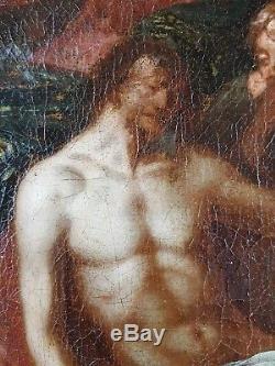 Ancien Tableau La Déposition de Croix Peinture Huile Antique Painting Dipinto