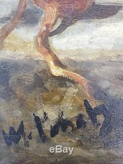 Ancien Tableau Nature Morte avec Poulet Peinture Huile Antique Oil Painting