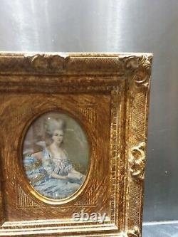 Ancien Tableau, Portrait, Grande Miniature, Peinture, Portrait De Femme, Xixeme