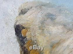 Ancien Tableau Vache au Pâturage Peinture Huile Antique Oil Painting