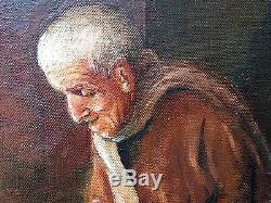 Ancien Tableau Veillée Peinture Huile Antique Oil Painting Ölgemälde Dipinto