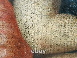 Ancien Tableau Vierge à la Chaise Peinture Huile Antique Oil Painting Dipinto