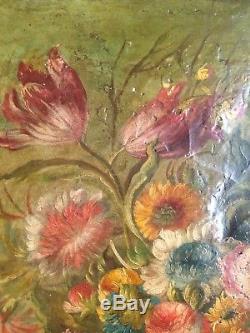 Ancien Tableau XIXe Bouquet de Fleurs Vase Médicis 19e Huile sur toile