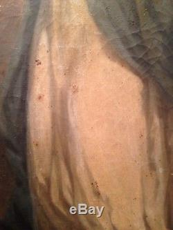 Ancien Tableau XIXe Portrait de la Vierge croissant de Lune Huile sur Toile 19e