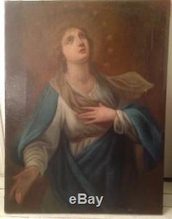 Ancien Tableau XVIIIe Portrait de la Vierge Huile sur Toile 18th