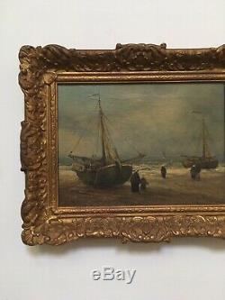 Ancien XIX-XX Tableau Huile Sur Toile Signé Jur. M. Beek, Peinture