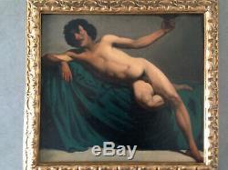Ancien beau nu académique masculin académie d'homme XIX huile sur toile tableau