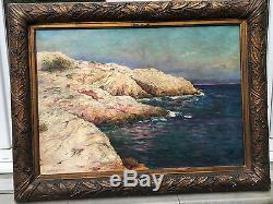 Ancien & superbe tableau bord de mer huile sur toile signé Alexandre Isailoff