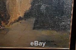 Ancien tableau HT scène de genre atelier peintre signé Gaston Lestrade Belge XXe