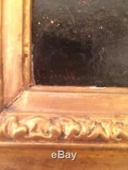 Ancien tableau XIXe Scène Galante La Balançoire Huile sur toile Signée 19e
