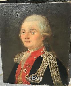 Ancien tableau huile sur toile Portrait d'homme XVIIIe 18e