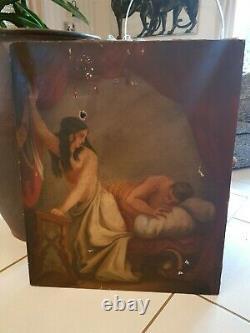 Ancien tableau huile sur toile XIX ème s, jolie peinture ancienne