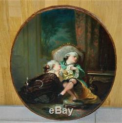 Ancien tableau huile sur toile le jeux enfantin XVIIIe Fragonard
