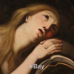 Ancien tableau religieux Madeleine peinture huile sur toile 700 18ème siècle