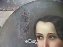 Ancienne Hst Huile Sur Toile Portrait De Jeune Fille Epoque XIX Ecole Francaise