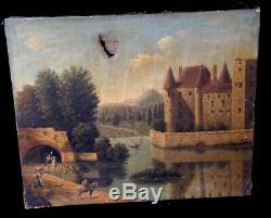 Ancienne Huile Sur Toile Chateau Paysage Animé Fin 18 Eme Antik Oil On Canvas